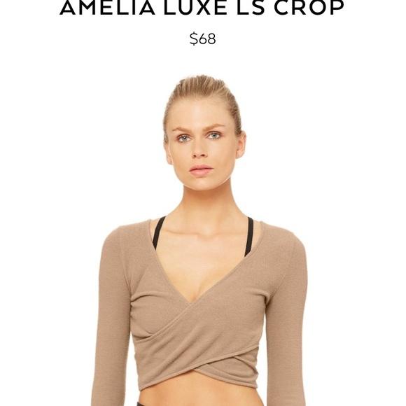 8781f7abb467e ALO Yoga Tops | Amelia Luxe Crop In Gravel Brand New | Poshmark