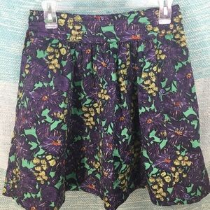 J. Crew Purple Floral Green Grape A-Line Skirt