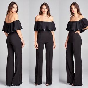 Pants - Off Shoulder Pleated Jumpsuit