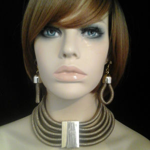 Chunky Gold Coil & Metal Layered Necklace Set
