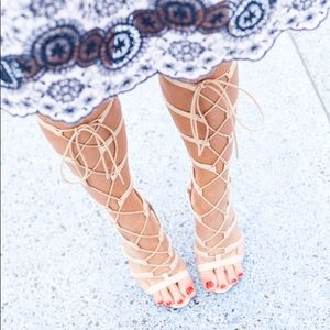 ASOS Nude Tie Up Heeled Sandals