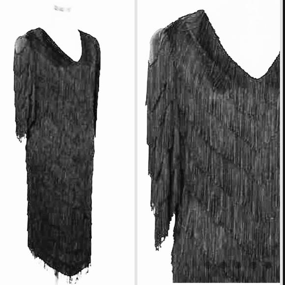 80s Black Fringe Dress Nightworks plus size