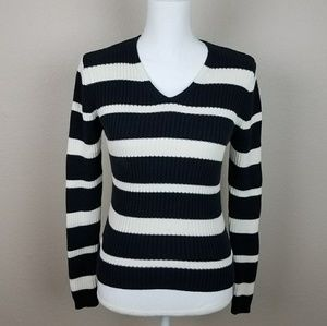 Mossimo Striped Black White Vneck Sweater Ribbed S