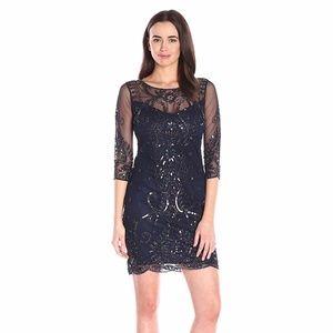 Nude Beaded Nights Sleeve Illusion Dress