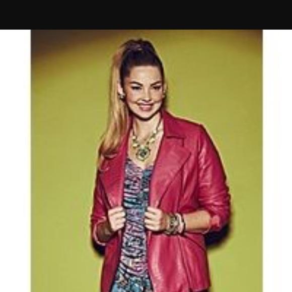 4d4746bbb1e Anna Scholz pink croc moto jacket US 18w 22UK
