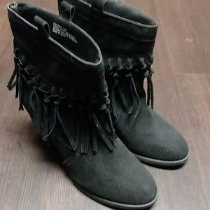 Cato black fringe boots