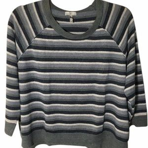 Joie Linen Muted Grey Teal Ivory Striped Sweater