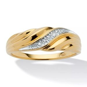 Other - Real Diamonds Gold Ring Mens 925 Wedding Band NEW