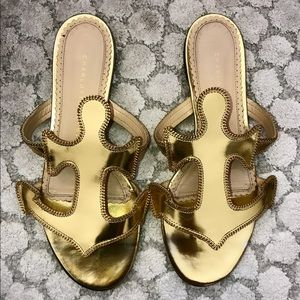 Charlotte Olympia Gold anchor sandals sz 37.5