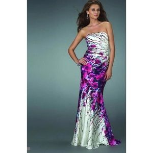 La Femme Prom Dress - Pink/Purple Floral
