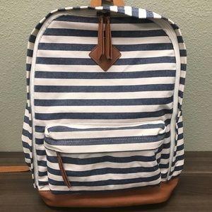NWT Merona Striped Backpack Denim Blue and White