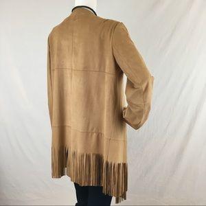 Zara Jackets   Coats - Zara Basic Faux Suede Fringed Jacket NWT ffd57fd6b9