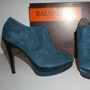 NEW Balmain Suded Peep Toe Booties Ankle Boots