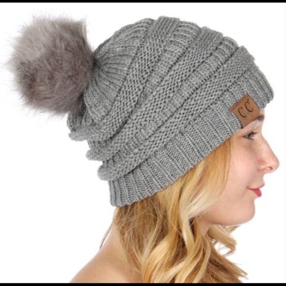 330c3712bf3 C.C Thick Cable Knit Faux Fuzzy Fur Pom Pom Beanie