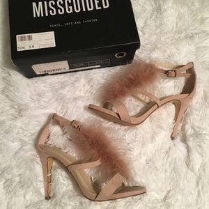 MissGuided Blush Pink Feather Heels