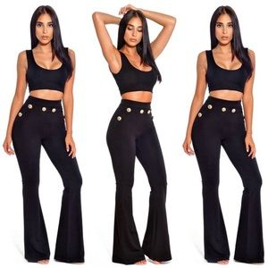 Pants - High Waist Flared Pants