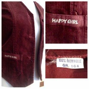 """Vintage """"1970's Happy Girl Burgandy Vest! Unique!"""