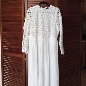 Plus size white lace and pleat dress