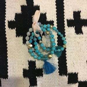 Blue beaded tassel bracelets