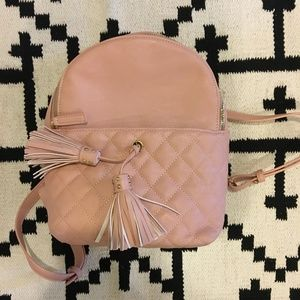 LD pink quilted tassel backpack