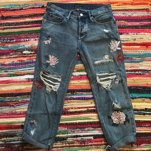 floral embroidery jeans