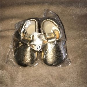 Other - Baby faux leather gold moccasins