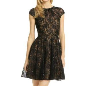 Shoshanna black lace/nude underlay dress. Sz 6
