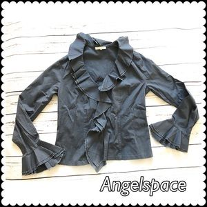 Gray cotton blouse with ruffles