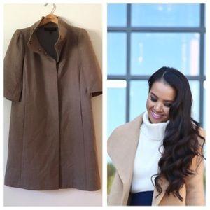 ann taylor • taupe half-sleeve virgin wool coat