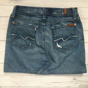 7 For All Mankind Denim Button Skirt