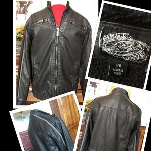 First Wave  Boys Faux Leather Moto Jacket SZ 20