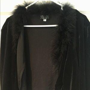 Jacket with boa edge size 20 by Onyx Nite