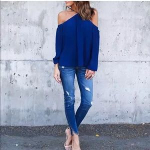 Tops - Blue Off the Shoulders Blouse