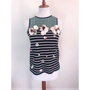 J. Crew black label striped floral embossed blouse
