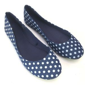 Shoes - Blue and White Polka Dot Flats Size 9
