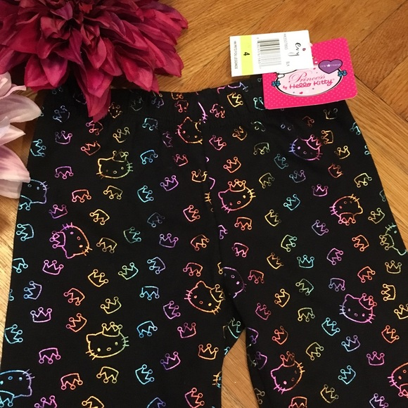 5d28cabba Hello Kitty Bottoms | New Rainbow Foil Black Leggings | Poshmark