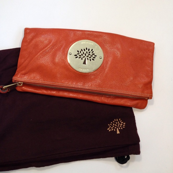 2956e2f5b1 Authentic Mulberry orange leather clutch