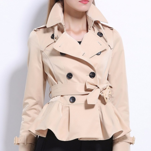 amazon modern style price FINAL CLOSEOUT! Short Peplum Trench Coat Boutique