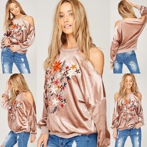 Sweaters - Velvet Cold Shoulder Sweater