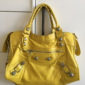 Balenciaga Giant City Lambskin Yellow Silver
