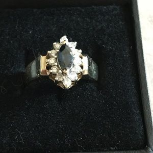 Blue Sapphire and Diamond 14k Ring $ FIRM