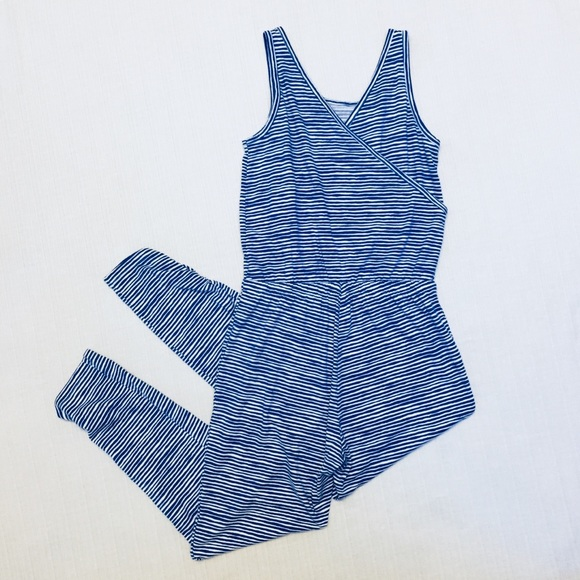 Old Navy Pants Jumpsuit Blue Striped Ruched Legs Poshmark