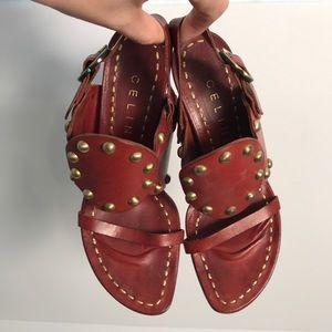 CELINE Maroon Gladiator leather sandal heels 39