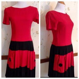 "ILGWU Vintage Killer Colorblock Dress! 28"" Waist"