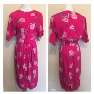 Fuchsia Vintage Silk Floral Secretary Dress!