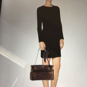 LANVIN Bronze Quilted Leather Amalia Bag w Box