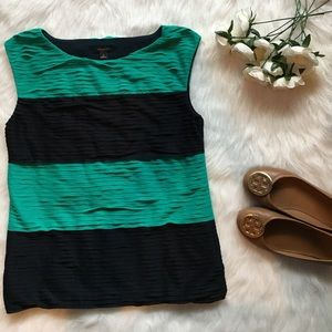 Green & Navy Striped Top