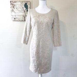 Antonio Melani Cream Lace 3/4 Sleeve Dress