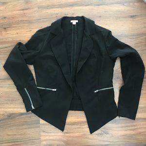 Xhilaration Black Blazer with Zipper Detail