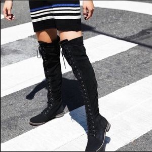 😍restock❗️Black suede lace up thigh high boots